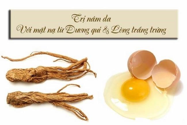 Mặt nạ đương quy và lòng trắng trứng gà có thể đánh bật vết nám hiệu quả