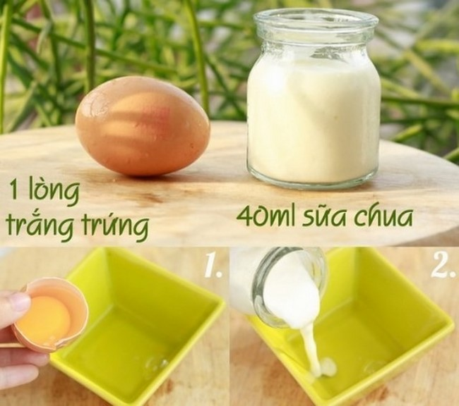 Mặt nạ lòng trắng trứng gà và sữa chua