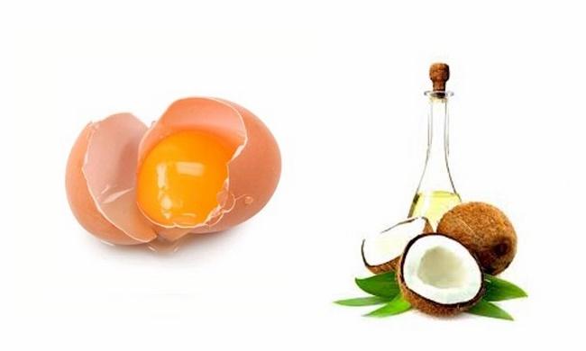 Lòng đỏ trứng gà với tinh dầu dừa