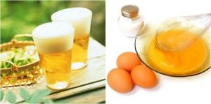 mặt nạ bia với trứng gà
